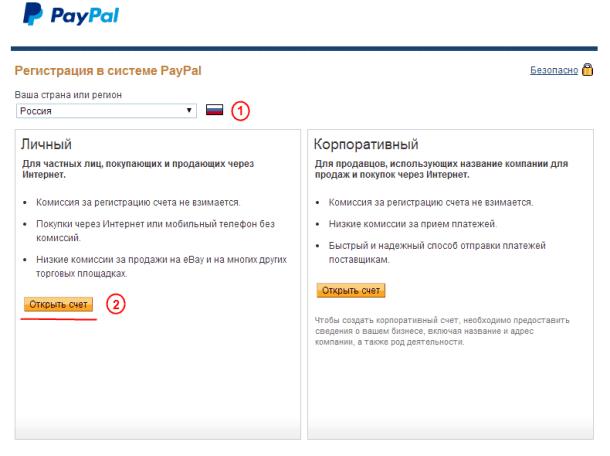 Открытие личного счёта PayPal