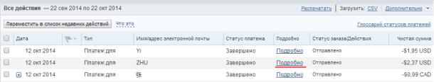 Список операций на PayPal