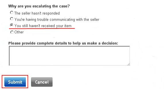 Перевод спора в претензию на eBay