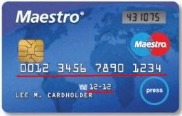 Лицевая сторона банковской карты