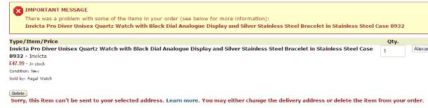 Невозможно доставить заказ с Amazon