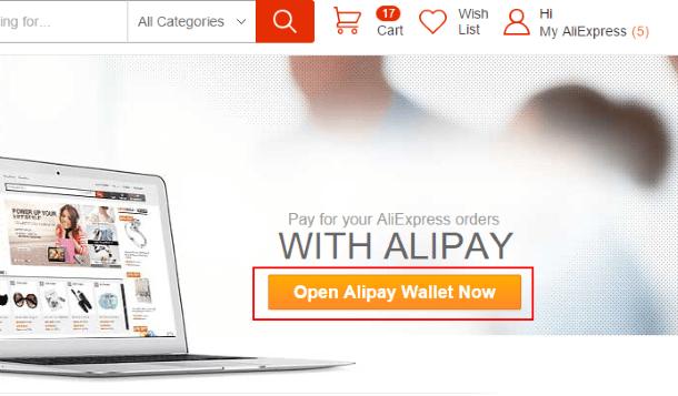 Открыть виртуальный кошелёк Alipay