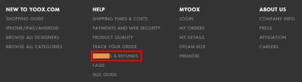 Раздел о правилах возврата на Yoox.com