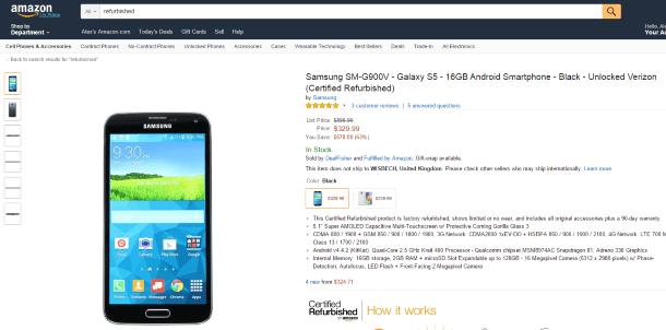 Refurbished-товары: покупать или нет - refurbished телефон Samsung на Amazon