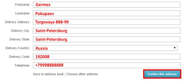 Заполнение формы адреса доставки на BuyInCoins.com
