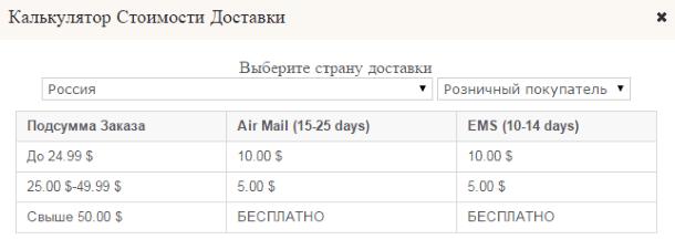 Калькулятор стоимости доставки с Teabox.com