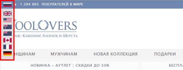Переключение языковых версий Woolovers.com