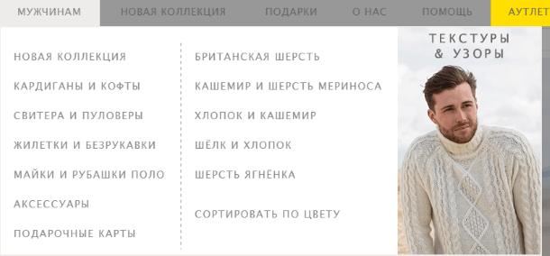 Структура каталога Woolovers.com