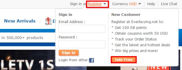 Переход к регистрации на EverBuying.net
