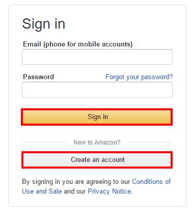 Авторизация на сайте Amazon для продолжения регистрации в программе Prime