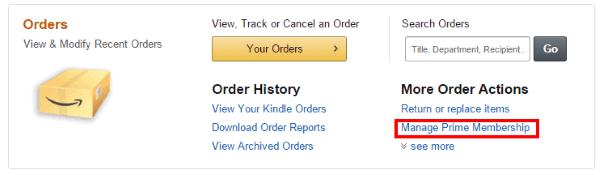 Amazon Prime: выгодно или нет - переход в раздел управления подпиской Prime