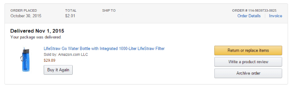 Заказ бутылки LifeStraw на Amazon.com