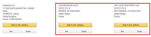 Выбор адреса посредника при покупках на Amazon.com