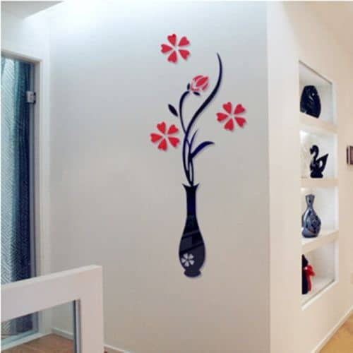 Акриловая наклейка на стену в виде вазы с цветами