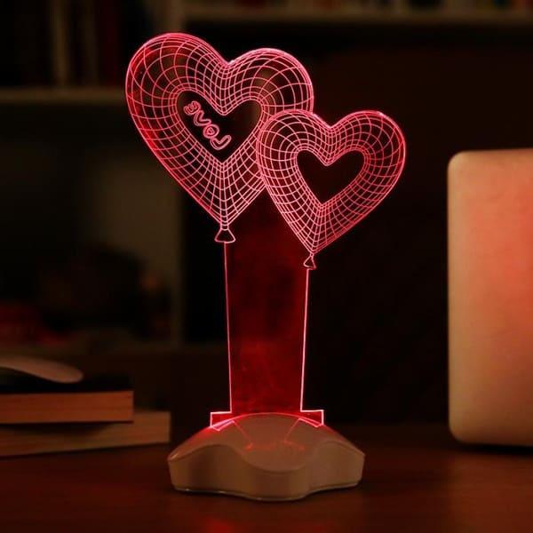Объёмный ночной светильник в форме двух сердец