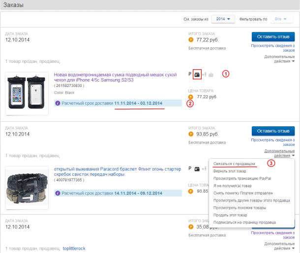 Список актуальных заказов на eBay