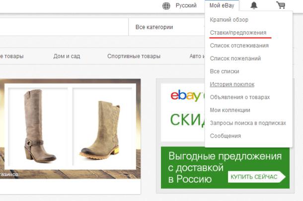 Ставки/предложения на eBay