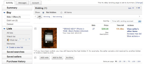 """Внутри раздела """"Ставки/предложения"""" на eBay"""
