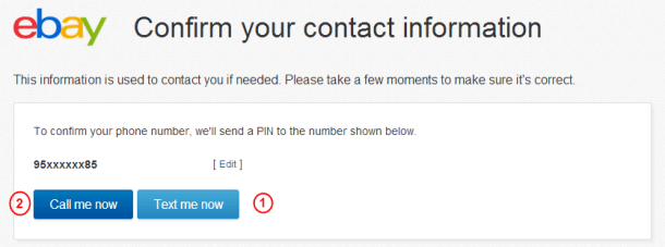 Подтверждение номера мобильного телефона на eBay