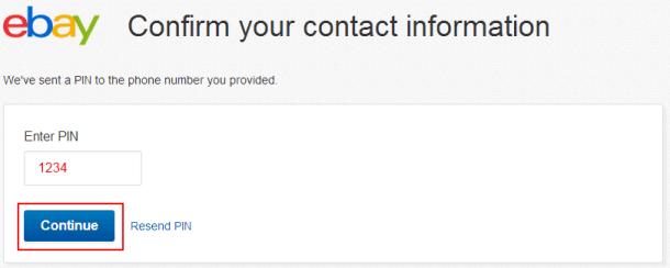 Ввод проверочного кода на eBay