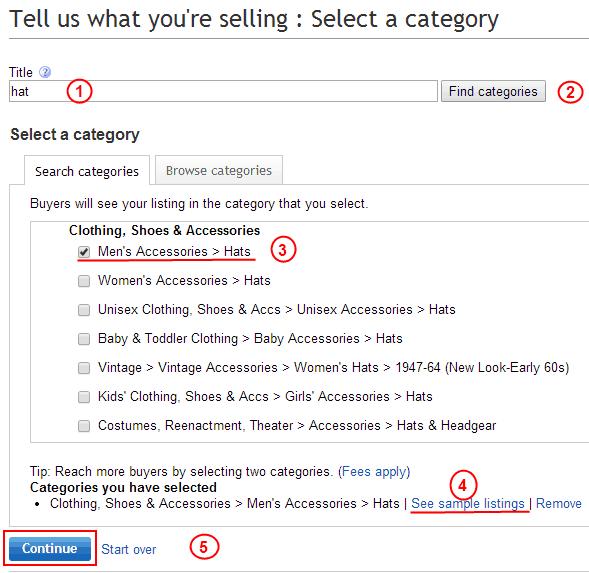 Выбор категории для размещения объявления на eBay