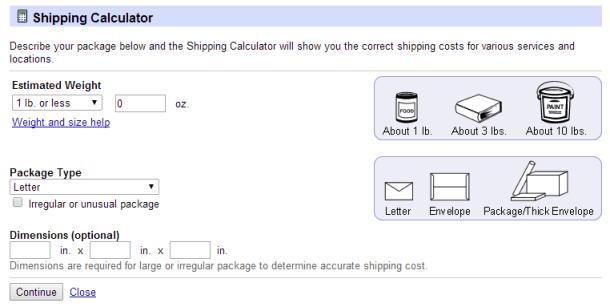 Калькулятор стоимости отправки