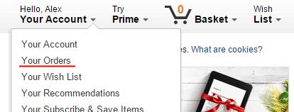 Список заказов на Amazon