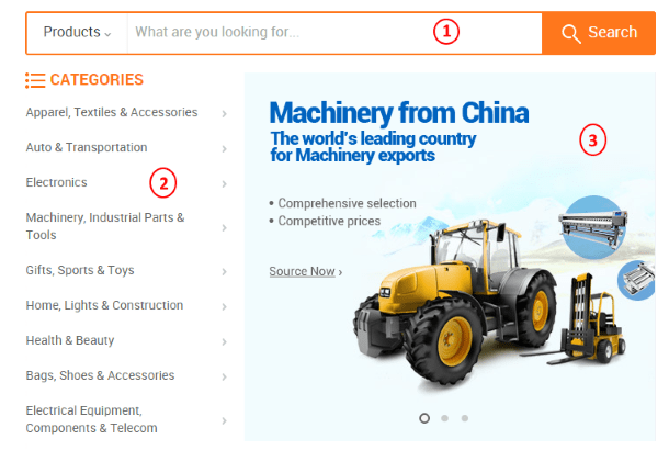 Поиск товара на Alibaba