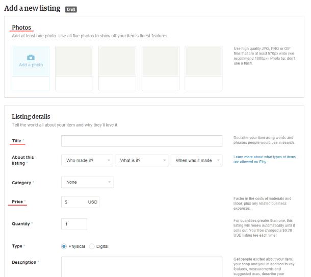 Как продавать на Etsy - заполнение карточки товара на Etsy