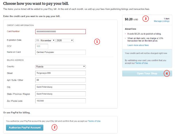 Как продавать на Etsy - выбор способа оплаты услуг Etsy