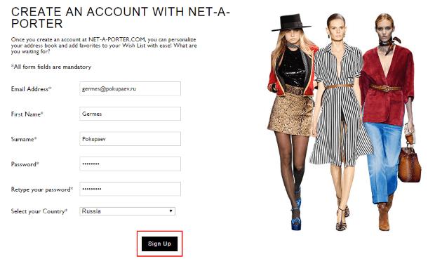 Регистрация на Net-a-Porter