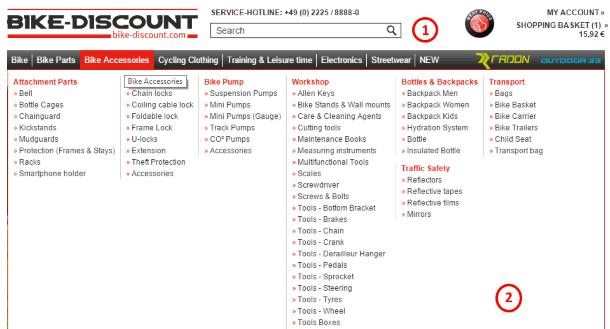Поиск товара на Bike-discount.de