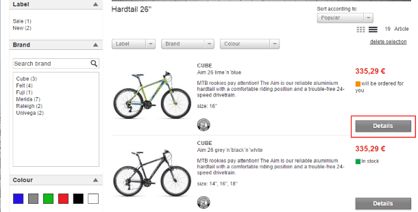 Выбор товара на Bike-discount.de