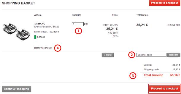 Страница заказа на Bike-discount.de
