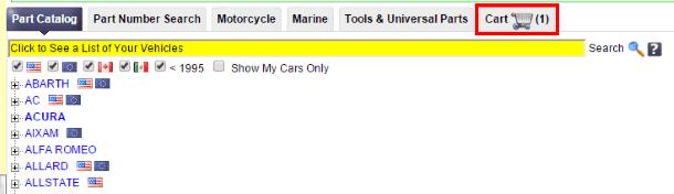 """Корзина"" на RockAuto.com"