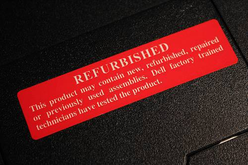 Наклейка, информирующая, что товар был восстановлен