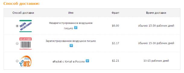 Как покупать на TinyDeal.com - выбор способа доставки