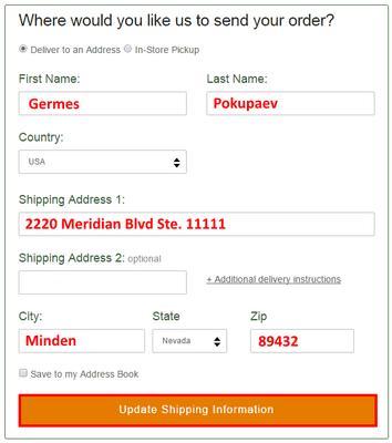 Образец заполнения формы добавления адреса для доставки на STP