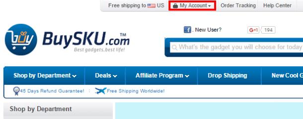 Переход к регистрации нового пользователя на BuySKU