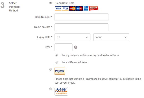 Как покупать на TheHut.com - выбор варианта оплаты