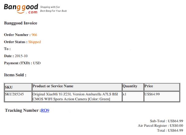 Пример инвойса с BangGood.com