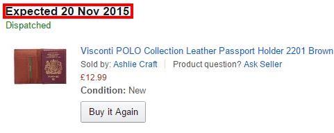 Прогнозируемый срок доставки на Amazon.co.uk полностью совпал с фактическим