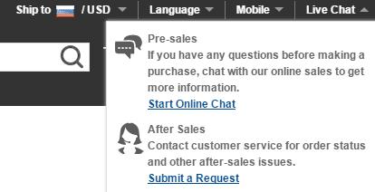 Связь со службой поддержки через Live-чат на GearBest.com