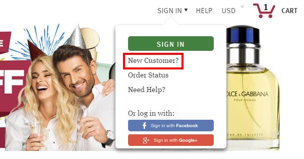 Начало регистрации на FragranceX.com