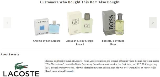 Связанные товары, а также краткая история бренда на FragranceX.com