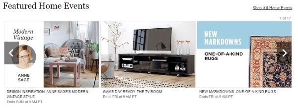Пример специальных предложений товаров для дома на MyHabit.com