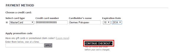 Ввод реквизитов банковской карты на MyHabit.com