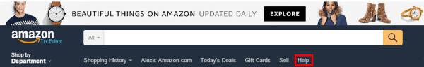Переход на страницу помощи Amazon.com