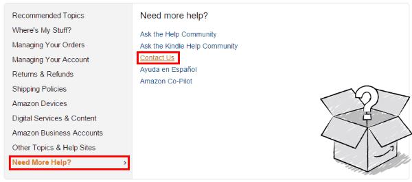 Поиск нужного раздела помощи на Amazon.com