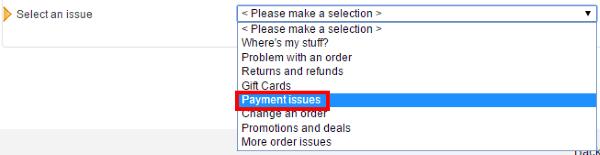 Выбор темы обращения в поддержку Amazon.com